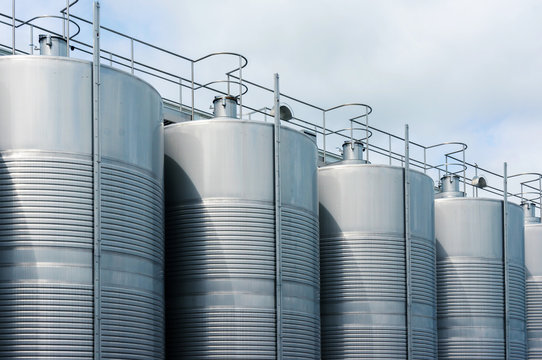 Stainless steel tank at the winery for wine maturation
