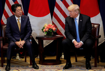 U.S. President Trump and Japan's Prime Minister Abe hold bilateral meeting on sidelines of 73rd session of the United Nations General Assembly in New York