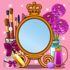 Beautiful cute greeting card with frame and space for your text, picture or photo in the style of a little fashionista and makeup Princess. Vector cartoon close-up illustration.