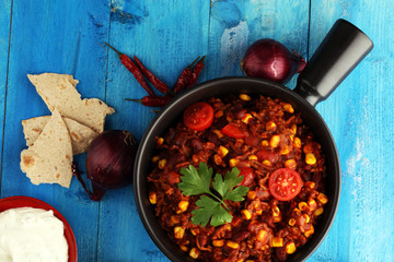 Hot chili con carne. mexican food tasty and spicy.