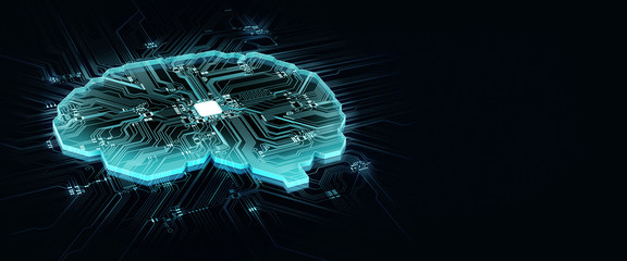human brain on technology background represent artificial intelligence and cyber space concept Wall mural