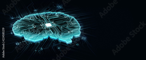 Wall mural human brain on technology background represent artificial intelligence and cyber space concept