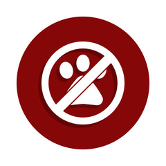 No Animal, prohibited sign icon in badge style. One of Decline collection icon can be used for UI, UX