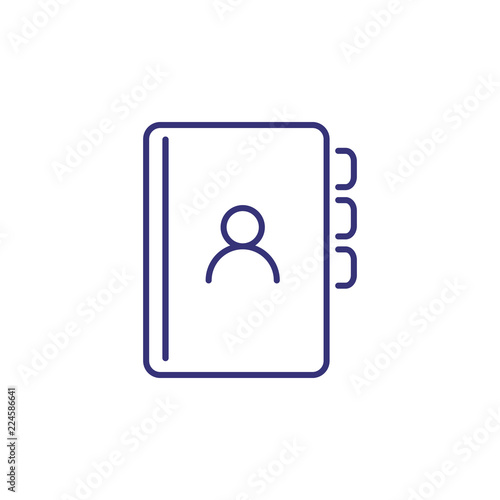 Address book line icon  Contact list, organizer, bookmark, avatar