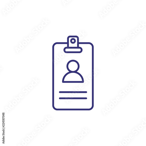 Name badge line icon  Avatar, photo, pass, id  Office