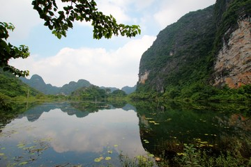 vietnamese landscape with lakes