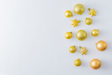 Holiday border with golden christmas balls