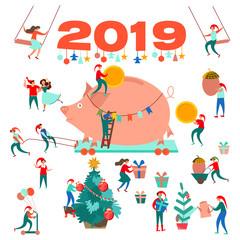 New Year. 2019. Big Pig. Christmas tree. Little men. Christmas background.