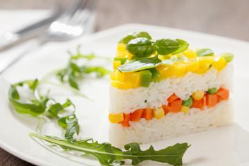 Vegetarian food, rice salad with vegetables, healthy meals