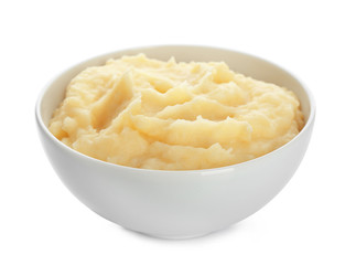 Bowl with mashed potatoes on white background