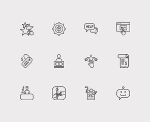 Support icons set. Invoice and support icons with customer, bot and ecommerce. Set of liked for web app logo UI design.