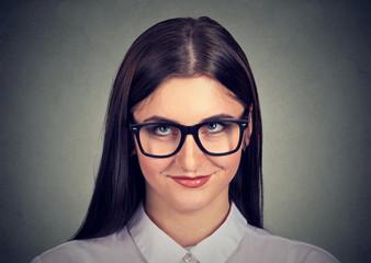 Nerdy shy woman in eyeglasses