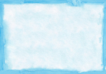 Rectangular regularly shaped light blue watercolour background. Beautiful abstract canvas for congratulations, valentines designs, invitation cards, engagements, postcards, text and etc.