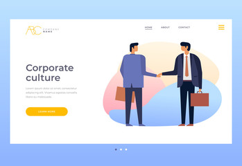 Culture of corporate relations. Businessmen shaking hands. Relations of partners in business. Homepage. Title for website. Vector illustration for web page.