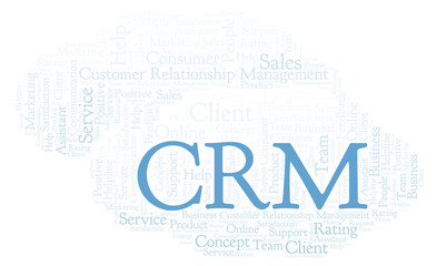 CRM - Customer Relationship Management word cloud.