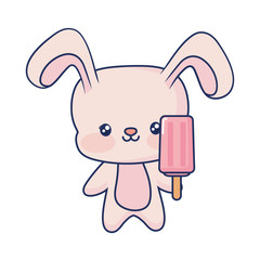 cute rabbit holding ice cream popsicle