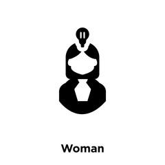 woman icon vector isolated on white background, logo concept of woman sign on transparent background, black filled symbol icon