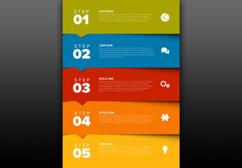 5 Step Color Block Infographic Layout