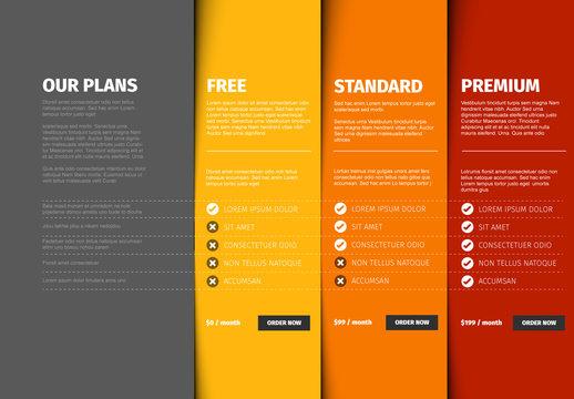 Product/Service Plan Price Comparison Layout