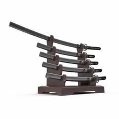 Japanese Sword Katana Display Rack Stand 5 Pcs Set 3D Illustration