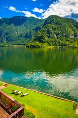 Wall Mural - Fantastic landscape of Hallstatt lake, Austrian Alps,  Salzkammergut, Austria, Europe