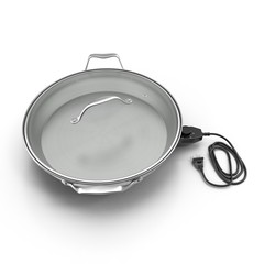 Round Electric Skillet On White Background 3D illustration