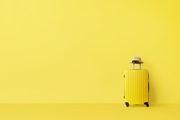 Ready to go, travel concept. Single suitcase in empty yellow room with copy space
