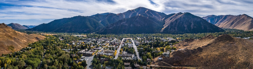 Ketchum Idaho Panoramic in Autumn