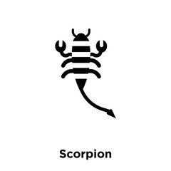 scorpion icon vector isolated on white background, logo concept of scorpion sign on transparent background, black filled symbol icon