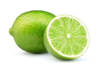 lime fruits isolated on white background Wall mural
