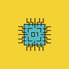 microchip icon on yellow background