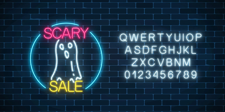 Glowing neon sign of halloween sale banner design with ghost silhouette. Bright halloween night scary discount sign