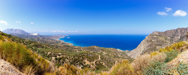 Kreta Griechenland Landschaft Panorama Meer Mittelmeer Übersicht
