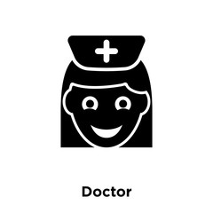 Doctor icon vector isolated on white background, logo concept of Doctor sign on transparent background, black filled symbol