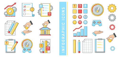 icons infographics business Finance banks audit charts questions answers hands money