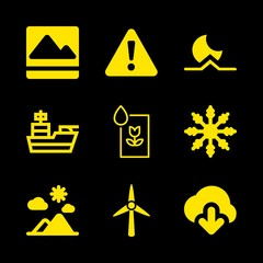 hill icons set with warning exclamation sign in filled triangle, washing picture and snow vector set
