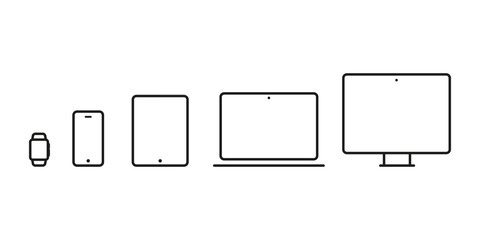 Device Icons: smartwatch, smartphone, tablet, laptop and desktop computer. Vector illustration, flat design