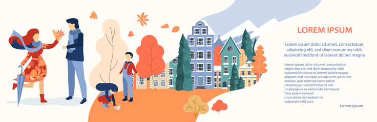 People spend weekend outdoors in autumn city park. Autumn urban banner.