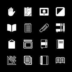 pad icons set with paperclip filled tool, contrast square button and book opened filled reading tool vector set