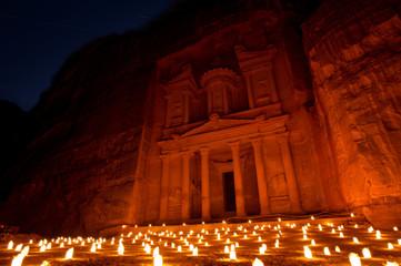 Treasury (Al Khazneh) of Petra Ancient City Illuminated by Candles, Jordan