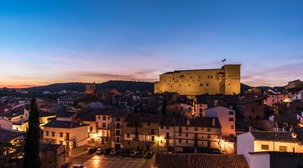 Mora de Rubielos Castle lighting in Teruel Spain Gudar Sierra night view panorama lights