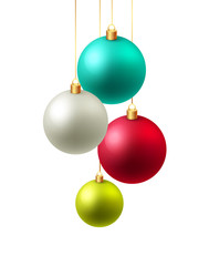 Christmas background Vector illustration. Christmas card with baubles.