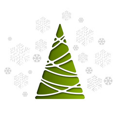 Vector Christmas tree. Holiday background with snowflakes