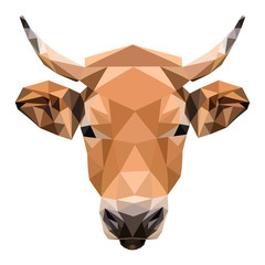 Cow geometric vector, low poly illustration