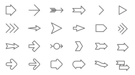 Thin line vector arrows icon set.