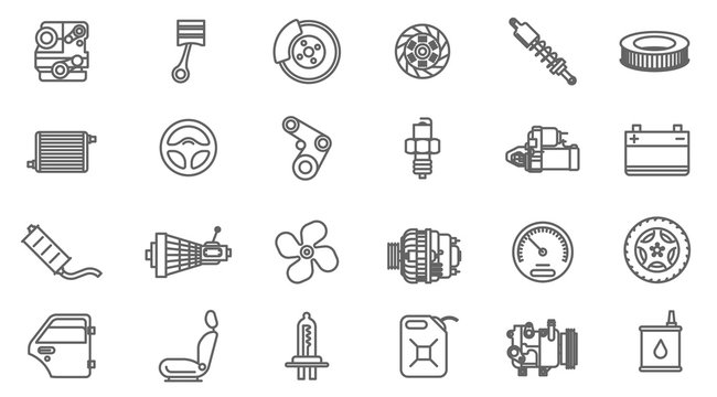 car service and pars  vector icon set.