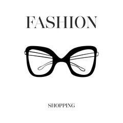 Hand drawn eye glasses textured vector illustration isolated on white background. Fashion shopping logo design. Black eye glasses in doodle fashion vogue style, vector illustration.
