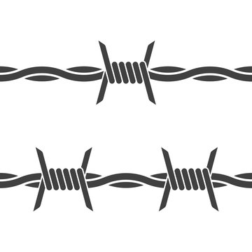 Barbed wire. Vector on white background. Seamless icon on white background.