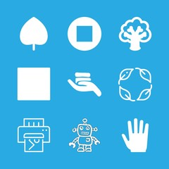 palm icons set with robot hand drawn toy, coins on hand and stop vector set