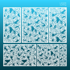 Laser cut set panel templates with butterfly pattern. May be use for die cutting. Lazer cut card. Template for wedding invitation. Cabinet fretwork screen. Lasercut metal panel. Wood carving.